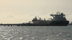 Oil Tanker Docked at Oil Refinery Stock Footage