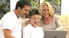 Young Caucasian Family Using Online Webchat Stock Footage