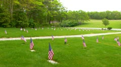 Memorial Flags at National Cemetery; Pan right Stock Footage