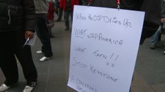 Protest, Occupy (Wall-Street) Calgary #27, keystone signs - stock footage