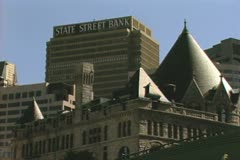 Shot of State Street Bank behind historic building Stock Footage