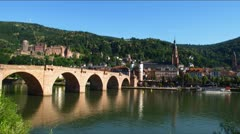 Heidelberg skyline Neckar river Germany Stock Footage