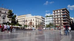Plaza in Valencia, Spain Stock Footage