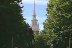 Paul Revere statue and Old North Church Stock Footage