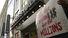 Stock Video Footage of Protest, Occupy (Wall-Street) Calgary #22, free the billions for the millions