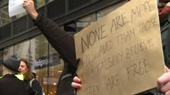 Protest, Occupy (Wall-Street) Calgary #43 ,signs. - stock footage