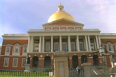 Front of Massachusetts State House Stock Footage
