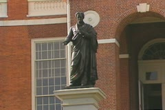 Horace Mann statue in front of Massachusetts State House Stock Footage