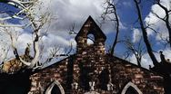 Scary Cemetery Crypt Scene Halloween Clouds Timelapse 01 Stock Footage