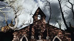 Scary Cemetery Crypt Scene Halloween Clouds Timelapse 02 - stock footage