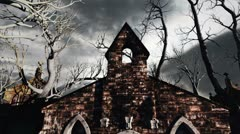 Scary Cemetery Crypt Scene Halloween Clouds Timelapse 03 - stock footage