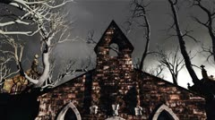Scary Cemetery Crypt Scene Halloween Clouds Timelapse 04 Stock Footage