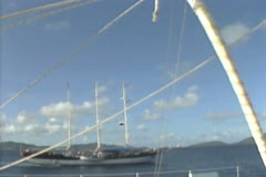 View panning up mast of sailing boat - stock footage