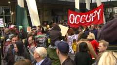 Stock Video Footage of Protest, Occupy (Wall-Street) Calgary #13, crowds