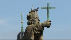 Wurzburg old town statue sculpture Main bridge Bavaria Germany Stock Footage