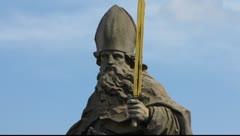 Wurzburg old town statue sculpture Main bridge Bavaria Germany - stock footage