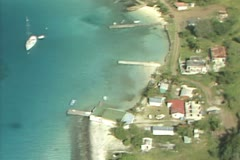 Aerial view of coast and buildings - stock footage