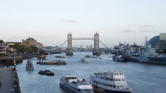 Tower Bridge with Moon Stock Footage