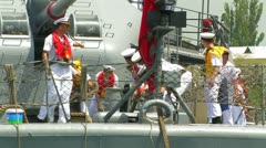 Aboard the Turkish warship Stock Footage