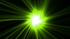 Green rays laser and fire in super space,dazzling god spirit light,energy tech Stock Footage