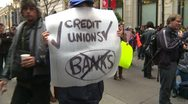 Politics and Protest, Occupy (Wall-Street) Calgary #7, bank signs Stock Footage