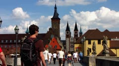 Wurzburg Wuerzburg old town Main bridge Bavaria Germany Stock Footage