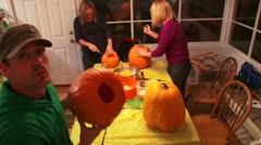 Carving Pumpkins Time Lapse 2 Stock Footage