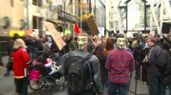 Protest, Occupy (Wall-Street) Calgary #4, anonymous masks - stock footage