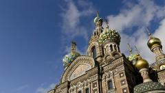 Church of the Savior on the Spilled Blood, St. Petersburg, Russia (timelapse) Stock Footage