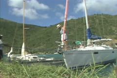 Moored sailing boats Stock Footage