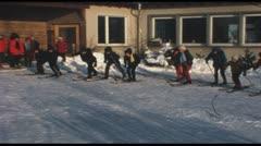 Junior ski school (Vintage 8 mm amateur film) Stock Footage
