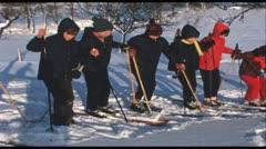 Junior ski school (Vintage 8 mm amateur film) - stock footage