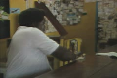 Close up of man polishing countertop Stock Footage
