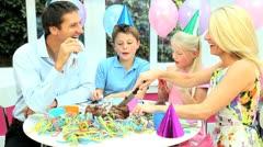Young Caucasian Children Enjoying Birthday Celebrations Stock Footage