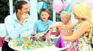 Young Caucasian Children Enjoying Birthday Celebrations Stock Footage