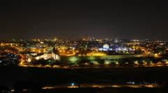 Skyline of Jerusalem at night time lapse Stock Footage