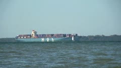 Container Ship on Southampton Water Stock Footage