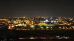 4K UHD Skyline of Jerusalem at night time lapse Stock Footage