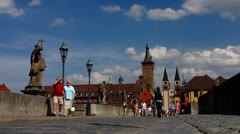 Wurzburg Wuerzburg old town Main bridge Bavaria Germany Stock Footage