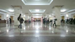 Students in dressing hall of main library Moscow State University Stock Footage