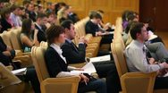 Listeners of first annual Financial Forum Russias financial system Stock Footage