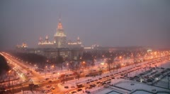 Main building of Moscow State University at winter night Stock Footage