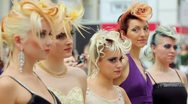 Five models with fanciful hairdo at XVII International Festival World of Beauty Stock Footage