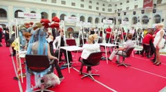 Around Wella workbench at XVII International Festival World of Beauty 2010 Stock Footage