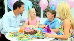 Young Caucasian Boy Blowing Out Birthday Candles Stock Footage