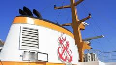 Ship chimney and radar system Stock Footage