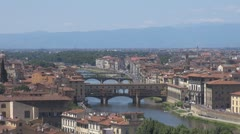 Panoramic view of Florence city with old bridge, Italy Stock Footage