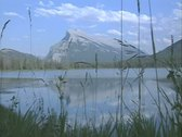 Stock Video Footage of View across lake with mountain