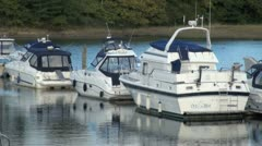 Moored Boats on River Hamble Stock Footage