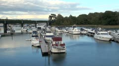 Boats Moored on River Hamble Stock Footage